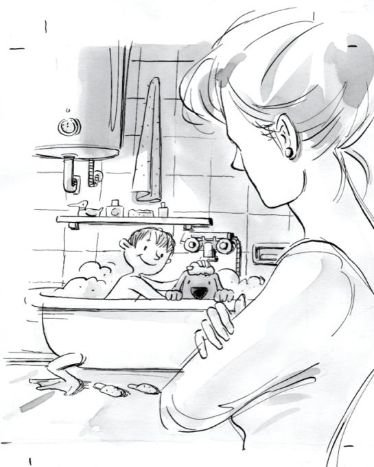 Bimbo e cane nella vasca + mamma